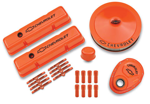 Proform 141-780 Engine Dress Up Kit, Air Cleaner / Tall Valve Covers / Breather / Hardware / Timing Cover, Chevy Logo, Steel, Orange Paint, Small Block Chevy, Kit