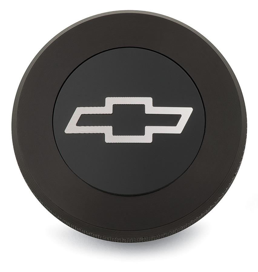 Proform 141-820 Radiator Cap, 13 lb, Round, Knurled Grip, Billet Aluminum, Chevrolet Bowtie Logo, Black Anodized, Each