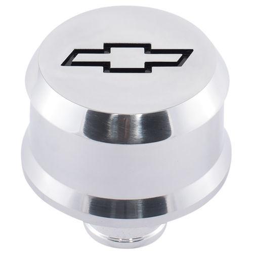 Proform 141-854 Breather, Push-In, Slant-Edge, 1-1/4 in Hole, Reusable, Recessed Black Bowtie Logo, Aluminum, Polished, Each