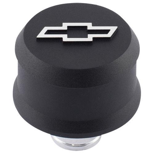 Proform 141-858 Breather, Push-In, Slant-Edge, 1-1/4 in Hole, Reusable, Raised Polished Bowtie Logo, Aluminum, Black Crinkle, Each