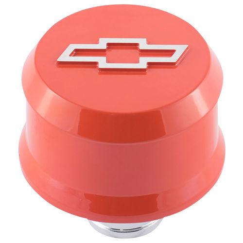 Proform 141-859 Breather, Push-In, Slant-Edge, 1-1/4 in Hole, Reusable, Raised Polished Bowtie Logo, Aluminum, Orange, Each