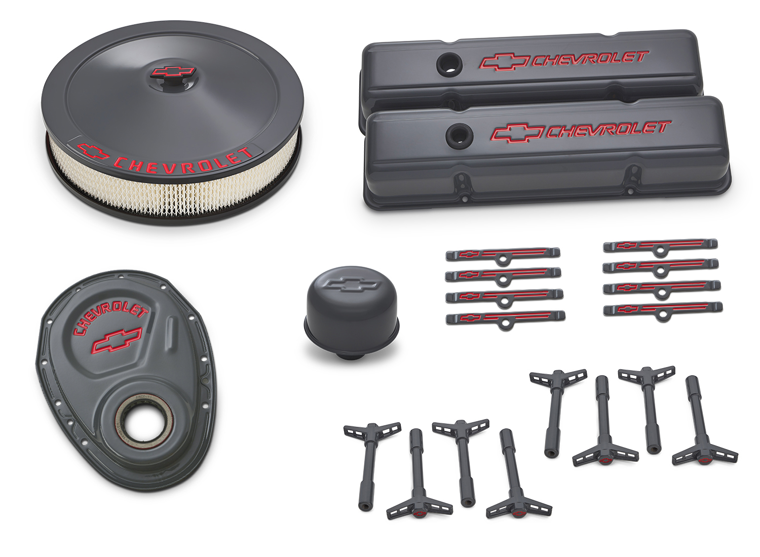 Proform 141-880 Engine Dress Up Kit, Air Cleaner / Tall Valve Covers / Breather / Hardware, Chevy Logo, Steel, Gray, Small Block Chevy, Kit