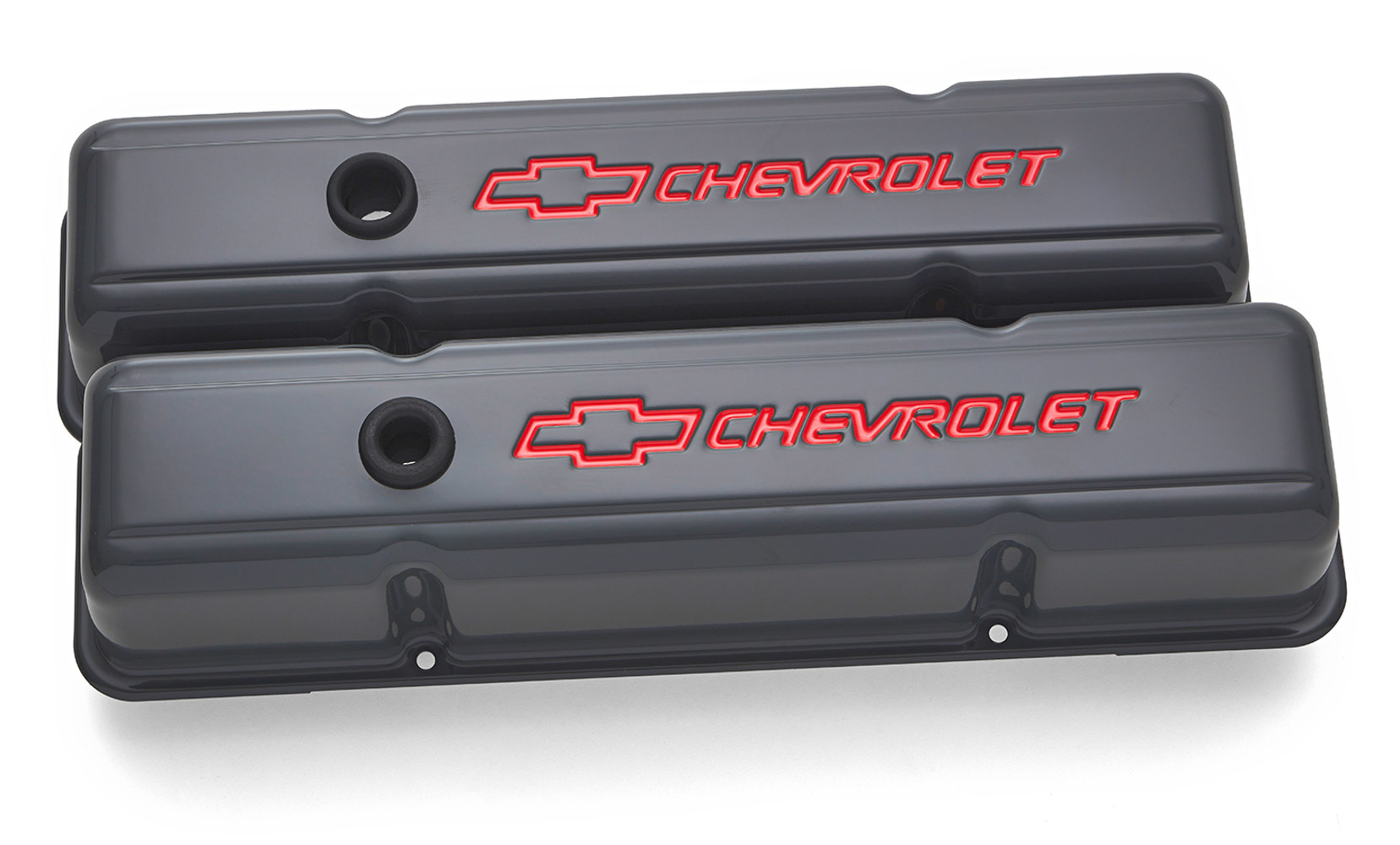 Proform 141-881 Valve Cover, Tall, Baffled, Breather Hole, Chevrolet Bowtie Logo, Steel, Gray, Small Block Chevy, Pair