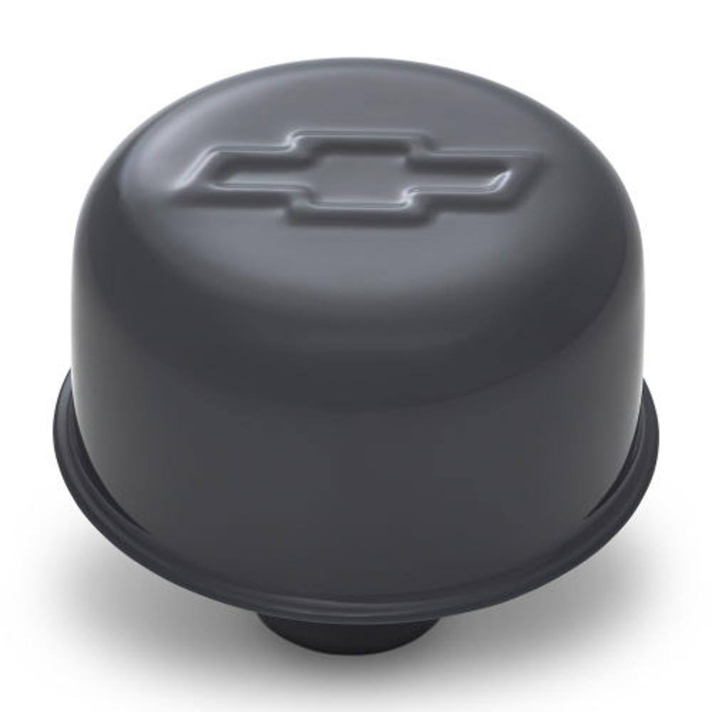 Proform 141-884 Breather, Push-In, Round, 1.22 in Hole, Bowtie Logo, Steel, Gray, Each