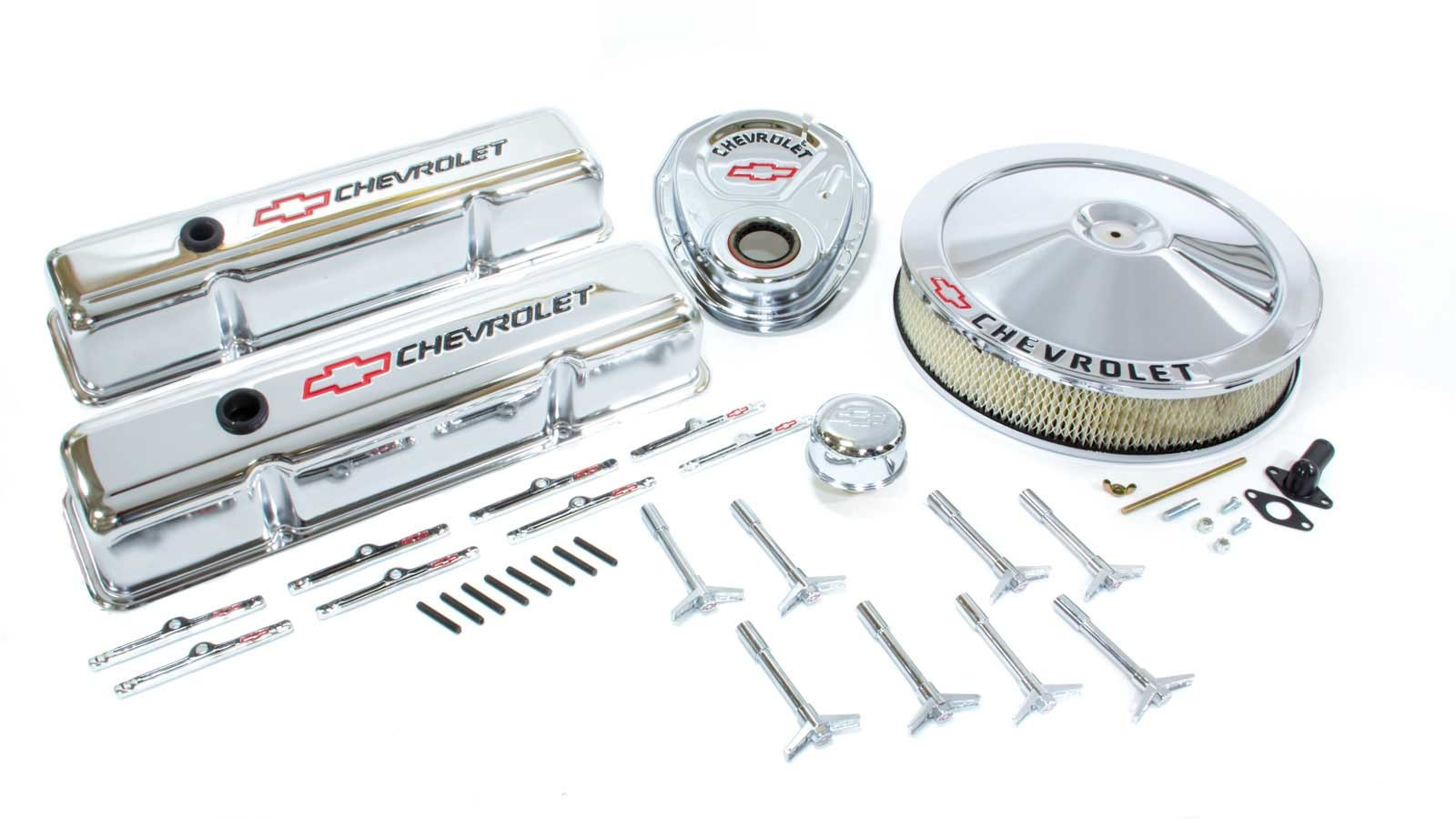 Proform 141-900 Engine Dress Up Kit, Air Cleaner / Tall Valve Covers / Breather / Hardware / Timing Cover, Chevy Logo, Steel, Chrome, Small Block Chevy, Kit