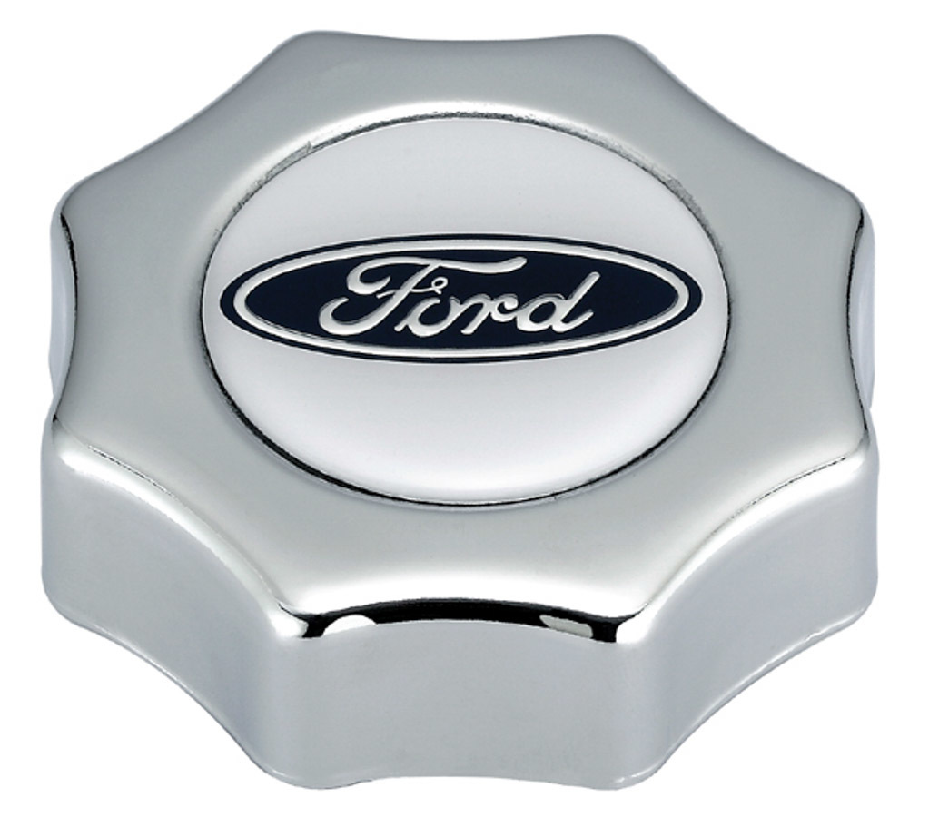 Proform 302-230 Oil Fill Cap, Screw-On, Round, Notched Grip, Ford Logo, Steel, Chrome, Ford Style Oil Fill Holes, Each