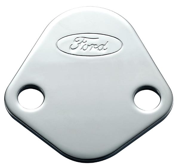 Proform 302-290 Fuel Pump Blockoff, Ford Logo, Steel, Chrome, Ford V8, Each