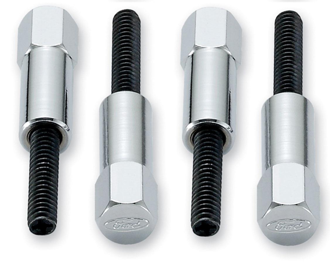 Proform 302-315 Valve Cover Fastener, Mini Nut, 1/4-20 in Thread, 1-1/2 in Long, Ford Logo, Steel, Chrome, Set of 4