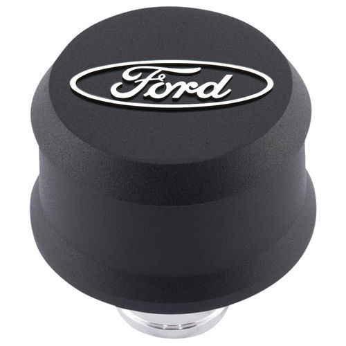 Proform 302-435 Breather, Slant-Edge, Push-In, Round, 1-1/4 in Hole, Raised Ford Oval, Aluminum, Black Crinkle, Each