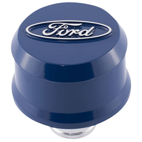 Proform 302-436 Breather, Slant-Edge, Push-In, Round, 1-1/4 in Hole, Raised Ford Oval, Aluminum, Blue, Each
