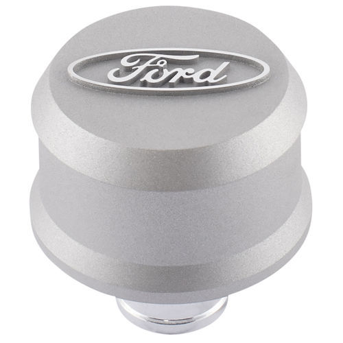 Proform 302-437 Breather, Slant-Edge, Push-In, Round, 1-1/4 in Hole, Raised Ford Oval, Aluminum, Gray Crinkle, Each