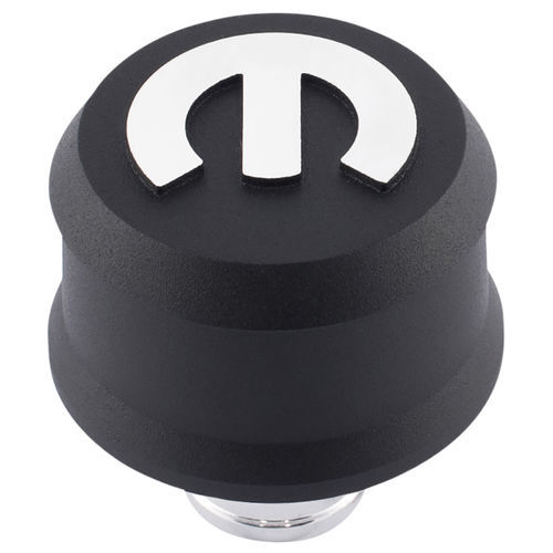 Proform 440-440 Breather, Push-In, Slant-Edge, 1-1/4 in Hole, Reusable, Raised Mopar Logo, Aluminum, Black Crinkle, Each
