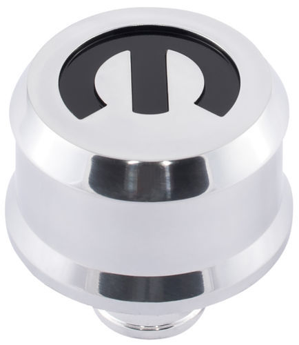 Proform 440-441 Breather, Push-In, Slant-Edge, 1-1/4 in Hole, Reusable, Recessed Mopar Logo, Aluminum, Polished, Each