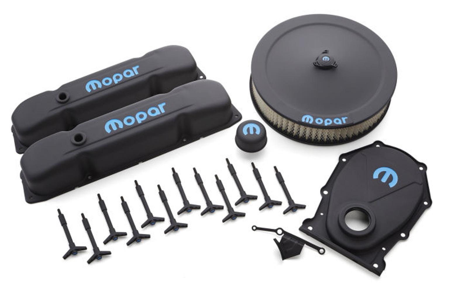 Proform 440-812 Engine Dress Up Kit, Air Cleaner / Valve Covers / Breather / Hardware / Timing Cover, Recessed Blue Mopar Logo, Steel, Black Crinkle, Mopar B / RB-Series, Kit