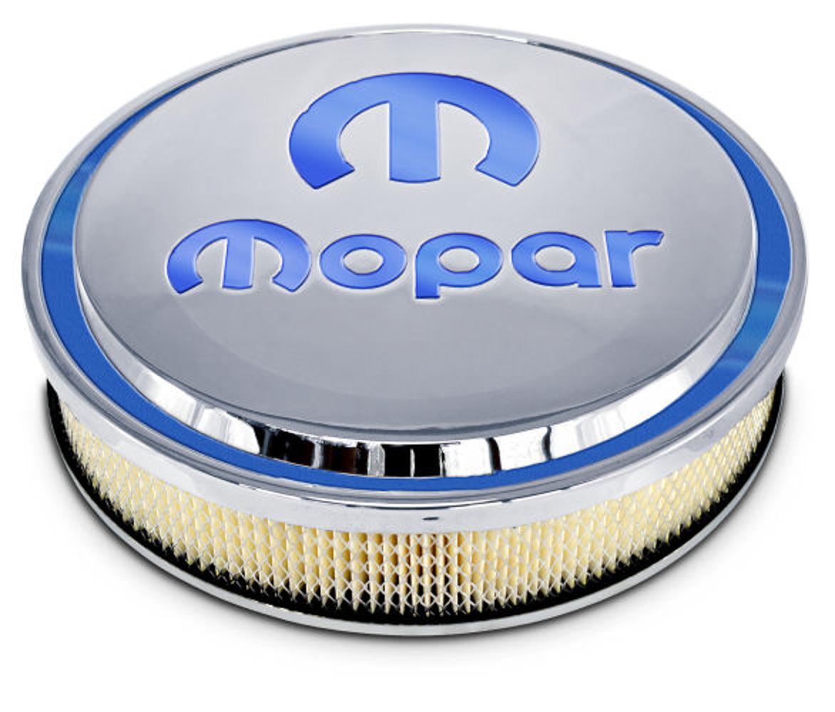 Proform 440-832 Air Cleaner Assembly, Slant Edge, 14 in Round, 3 in Element, 5-1/8 in Carb Flange, Drop Base, Mopar Logo, Aluminum, Polished, Kit