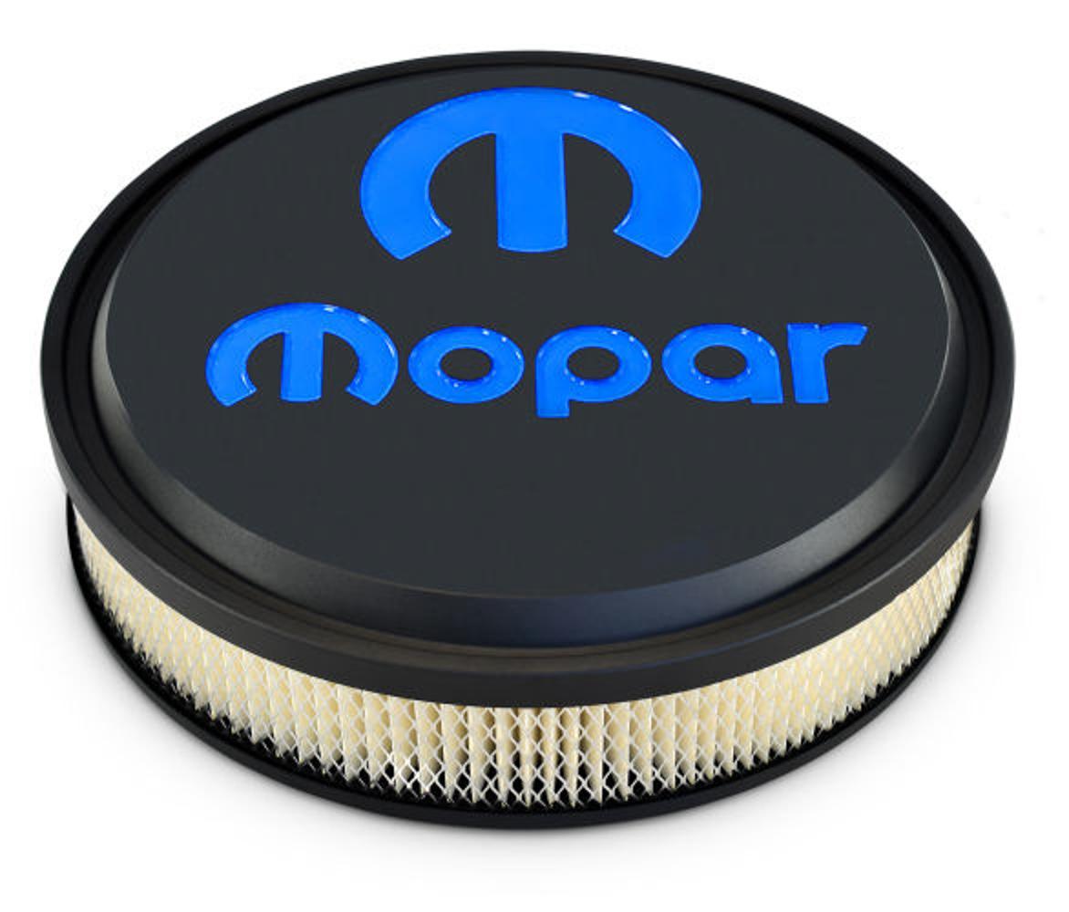 Proform 440-834 Air Cleaner Assembly, Slant Edge, 14 in Round, 3 in Element, 5-1/8 in Carb Flange, Drop Base, Mopar Logo, Aluminum, Black Crinkle, Kit