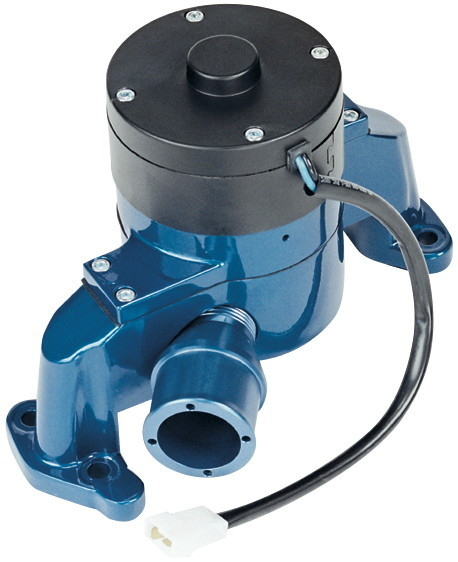 Proform 66225B Water Pump, Electric, 1 in NPT Female Inlet, Adapter / Gaskets / Hardware, Billet Aluminum, Blue Powder Coat, Small Block Chevy, Kit