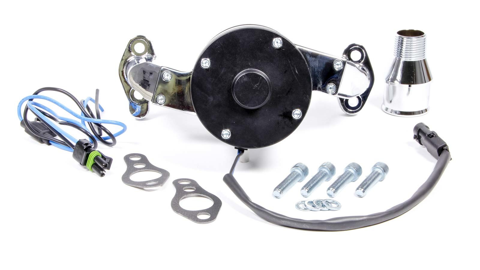 Proform 66225C Water Pump, Electric, 1 in NPT Female Inlet, Adapter / Gaskets / Hardware, Billet Aluminum, Chrome, Small Block Chevy, Kit