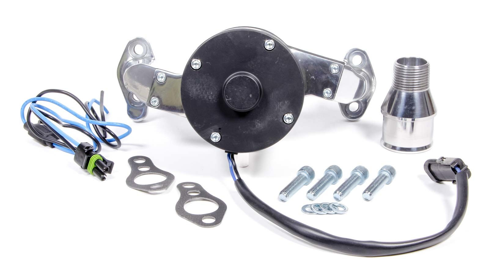 Proform 66225P Water Pump, Electric, 1 in NPT Female Inlet, Adapter / Gaskets / Hardware, Billet Aluminum, Polished, Small Block Chevy, Kit