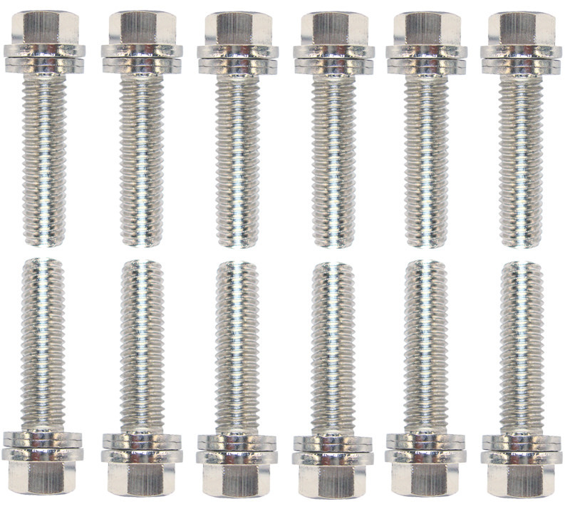 Proform 66754 Header Bolt, Locking, 8 mm x 1.25 Thread, 0.984 in Long, Hex Head, Steel, Nickel Plated, GM LS-Series, Set of 12