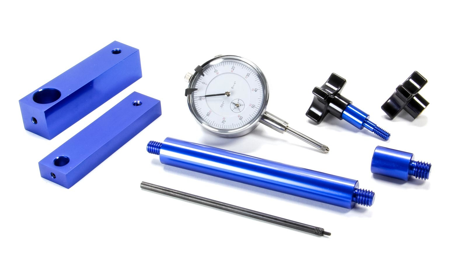 Proform 66830 Camshaft Checking Fixture, 0.001 in Dial Indicator, Dial Indicator Stand, 1/2 in and 7/16 in Adapters, Aluminum, Blue Anodized, Heads Off, Kit
