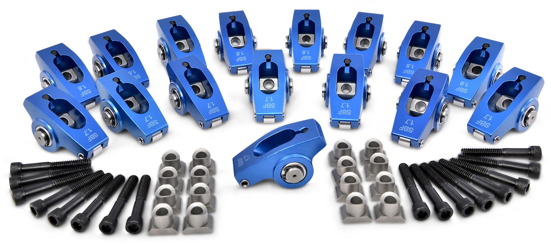 Proform 66876 Rocker Arm, Pedestal Mount, 1.6/1.7 Ratio, Full Roller, Aluminum, Blue Anodized, Small Block Ford, Kit