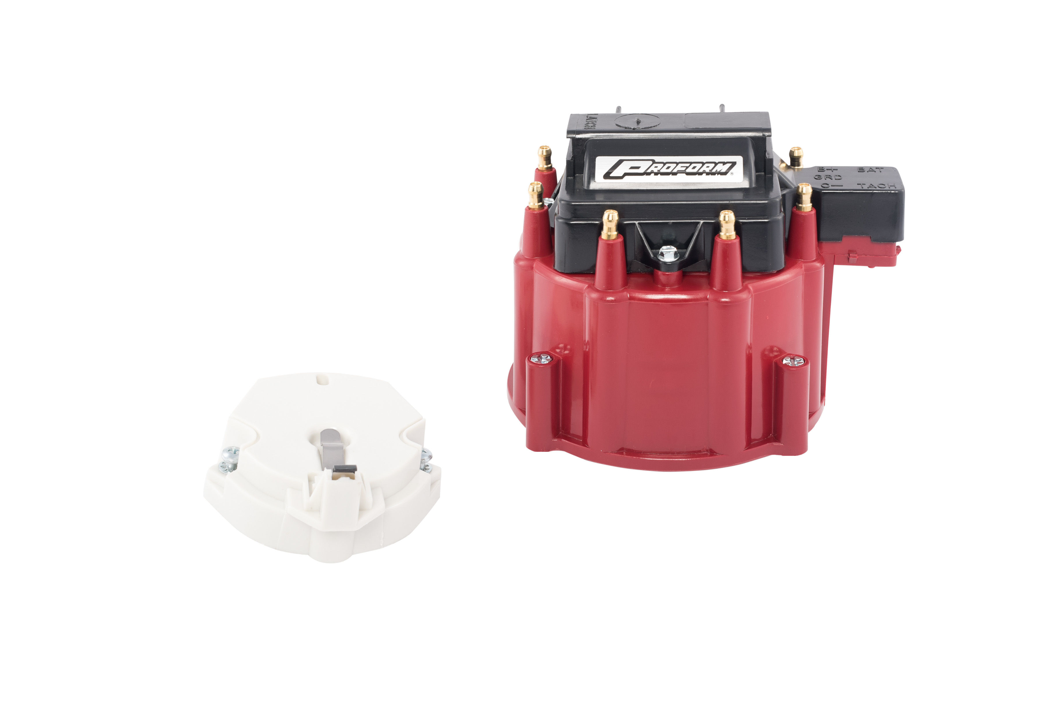 Proform 66942RC Cap and Rotor Kit, HEI Style Terminal, Brass Terminals, Clamp Down, 50000V Coil Included, Red, Non-Vented, GM HEI V8, Kit
