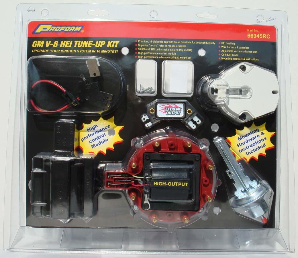 Proform 66945RC Distributor Tune Up Kit, Cap / Coil / Dust Cover / Hardware / Module / Rotor / Vacuum Advance, Red, GM HEI Distributors, Kit