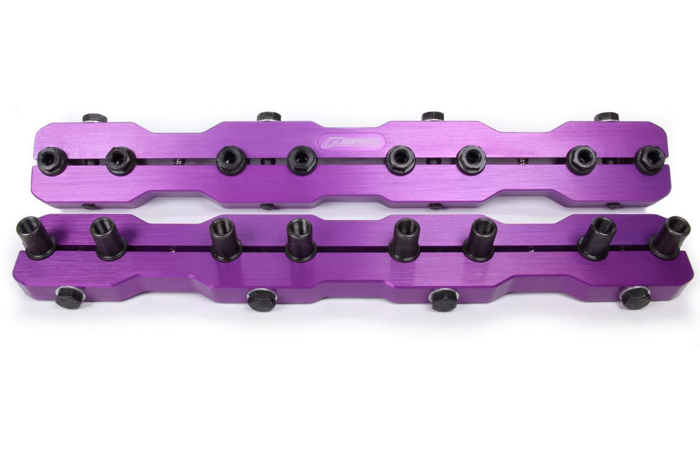 Proform 66951 Rocker Arm Stud Girdle, 7/16-16 in Thread Studs, Aluminum, Purple Anodized, Small Block Chevy, Kit