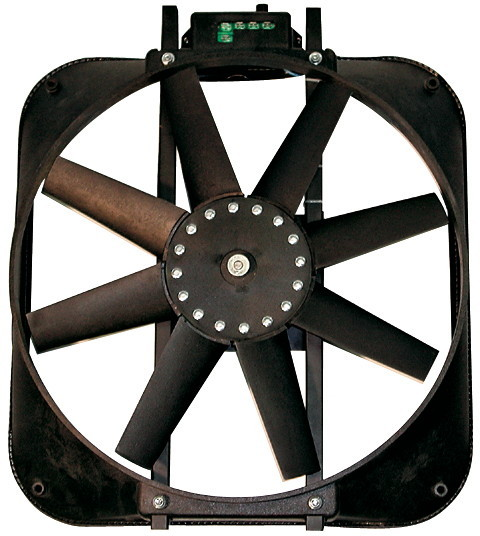 Proform 67017 Electric Cooling Fan, 15 in Fan, Puller, 2800 CFM, Straight Blade, 16-1/8 x 18 in, 4 in Thick, Plastic Shroud, Plastic, Each
