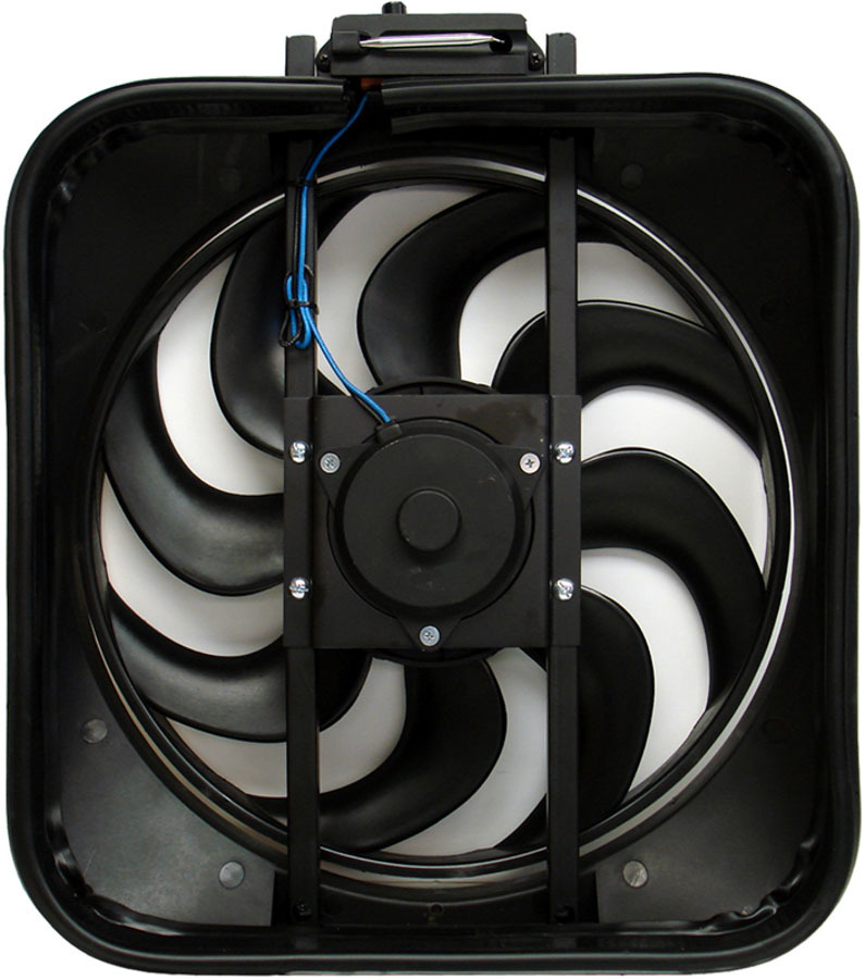 Proform 67028 Electric Cooling Fan, Mustang, 15 in Fan, Puller, 2800 CFM, Curved Blade, 16-1/8 x 18 in, 4 in Thick, Plastic Shroud, Plastic, Each