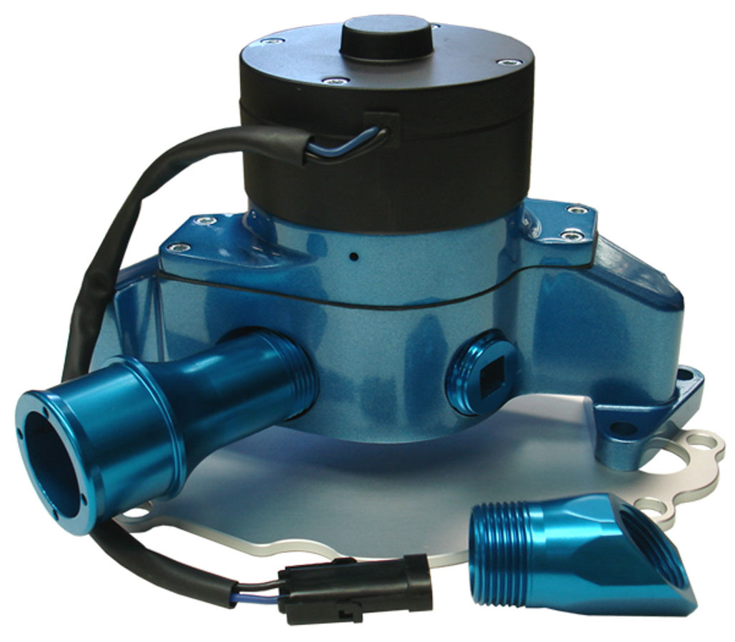 Proform 68220B Water Pump, Electric, 1 in NPT Female Inlet, Adapter / Gaskets / Hardware, Billet Aluminum, Blue Powder Coat, Small Block Ford, Kit
