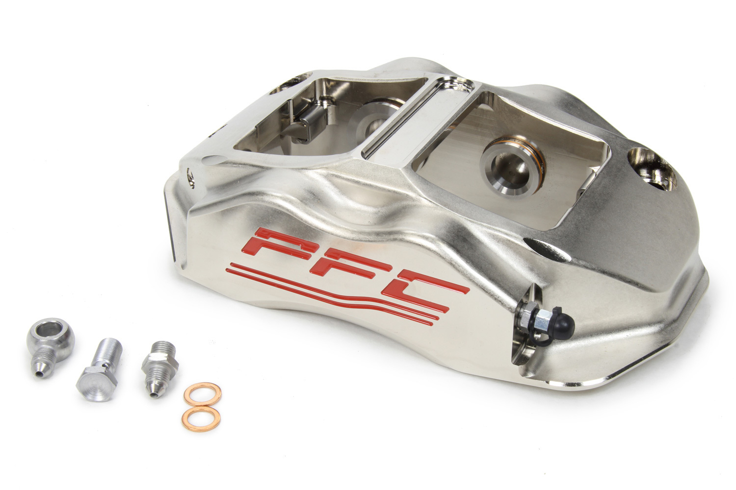 Performance Friction 94-323-410-440-01 Brake Caliper, ZR94, Driver Side, Leading, 4 Piston, Aluminum, Clear Anodized, 12.716 in OD x 1.250 in Thick Rotor, 7.00 in Radial Mount, Each