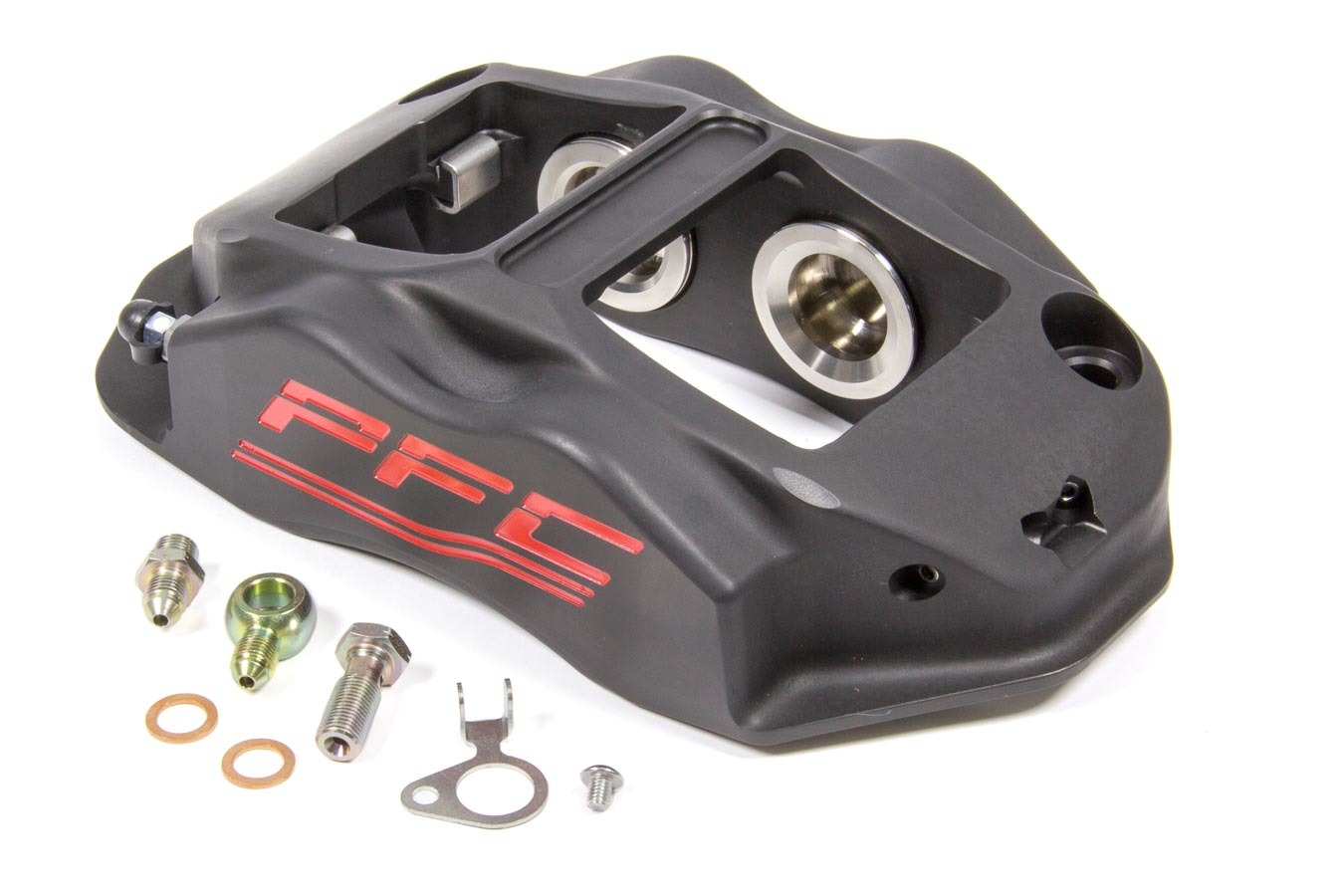 Performance Friction 94-323-410-440-11A Brake Caliper, ZR94, Driver Side, Trailing, 4 Piston, Aluminum, Black Anodized, 12.716 in OD x 1.250 in Thick Rotor, 7.00 in Radial Mount, Each