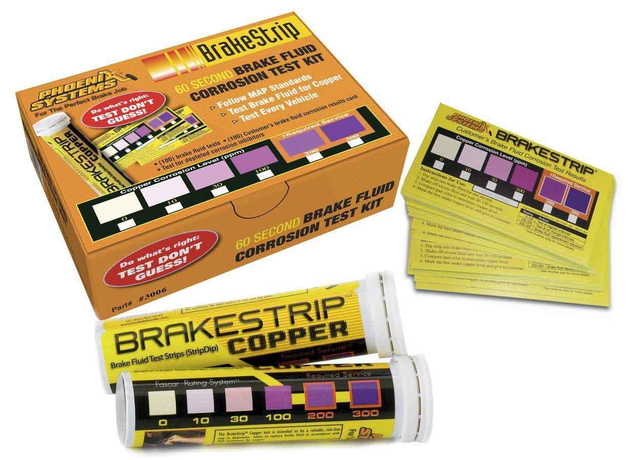 Phoenix Systems 3006-B Brake Fluid Tester Strip, BrakeStrip, Customer Cards Included, Set of 100