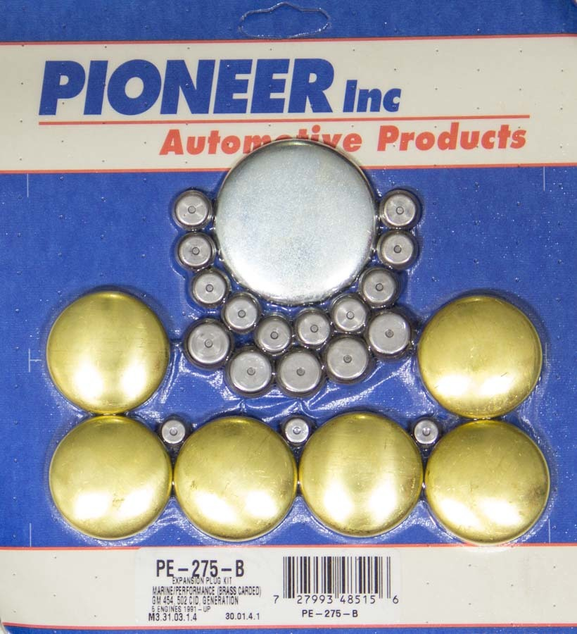Pioneer PE275B Freeze Plug, Complete Engine, Brass, Natural, Marine, Big Block Chevy, Kit