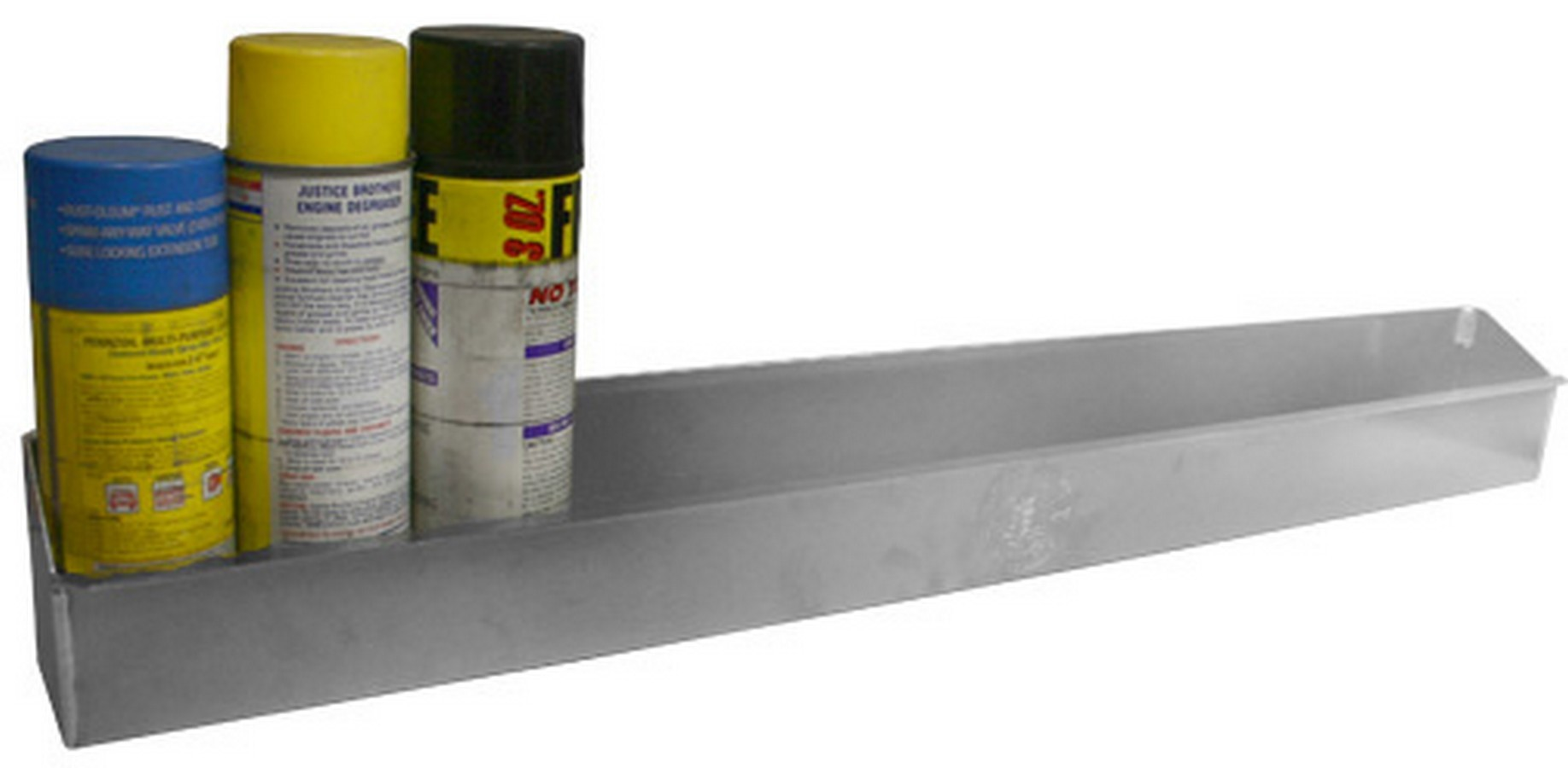 Pit Pal Products 101 Aerosol Can Holder, 32-1/2 in Long, 2-3/4 in Deep, 12 Can Capacity, Aluminum, Natural, Each