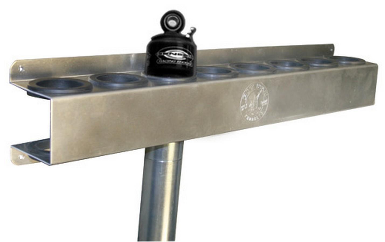 Pit Pal Products 1040 Shock Rack, Genesis, 25 in Long x 3 in Tall x 3-3/4 in Deep, 8 Shock Capacity, Aluminum, Natural, 2 in Diameter Shocks, Each