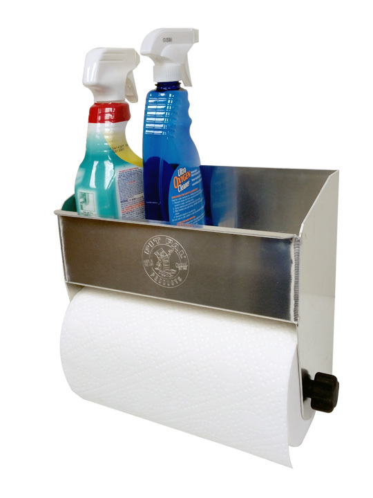 Pit Pal Products 362 Utility Shelf, Universal, 13-1/2 in Long, 5-3/4 in Wide, Paper Towel Holder, Aluminum, Natural, Each