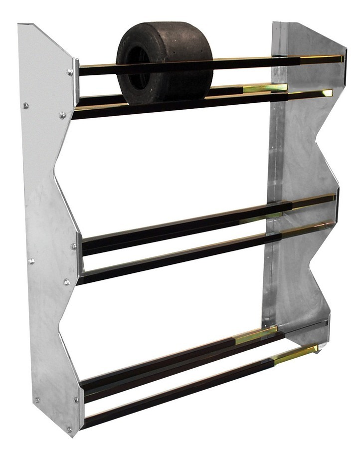 Pit Pal Products 389 Tire Rack, Wall Mount, 3 Tier, 48 x 13 in, Aluminum / Steel, Black Powder Coat / Natural, Kart Tires, Each