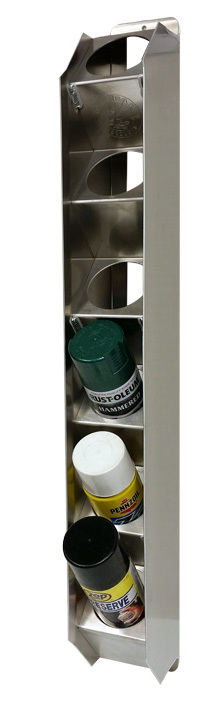 Pit Pal Products V98 Aerosol Can Holder, Single Row, 5-1/4 in Deep, 30-1/4 in Tall, 6 Can Capacity, Aluminum, Natural, Each