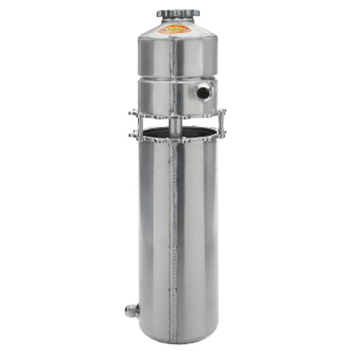 Saldana OT-626LH-IB-16SC Oil Tank, Left Hand, Dry Sump, 8 qt, 26 in Tall, 6 in OD, 12 AN Male Inlets, 16 AN Male Outlet, 12 AN Breather Port, Aluminum, Natural, Each