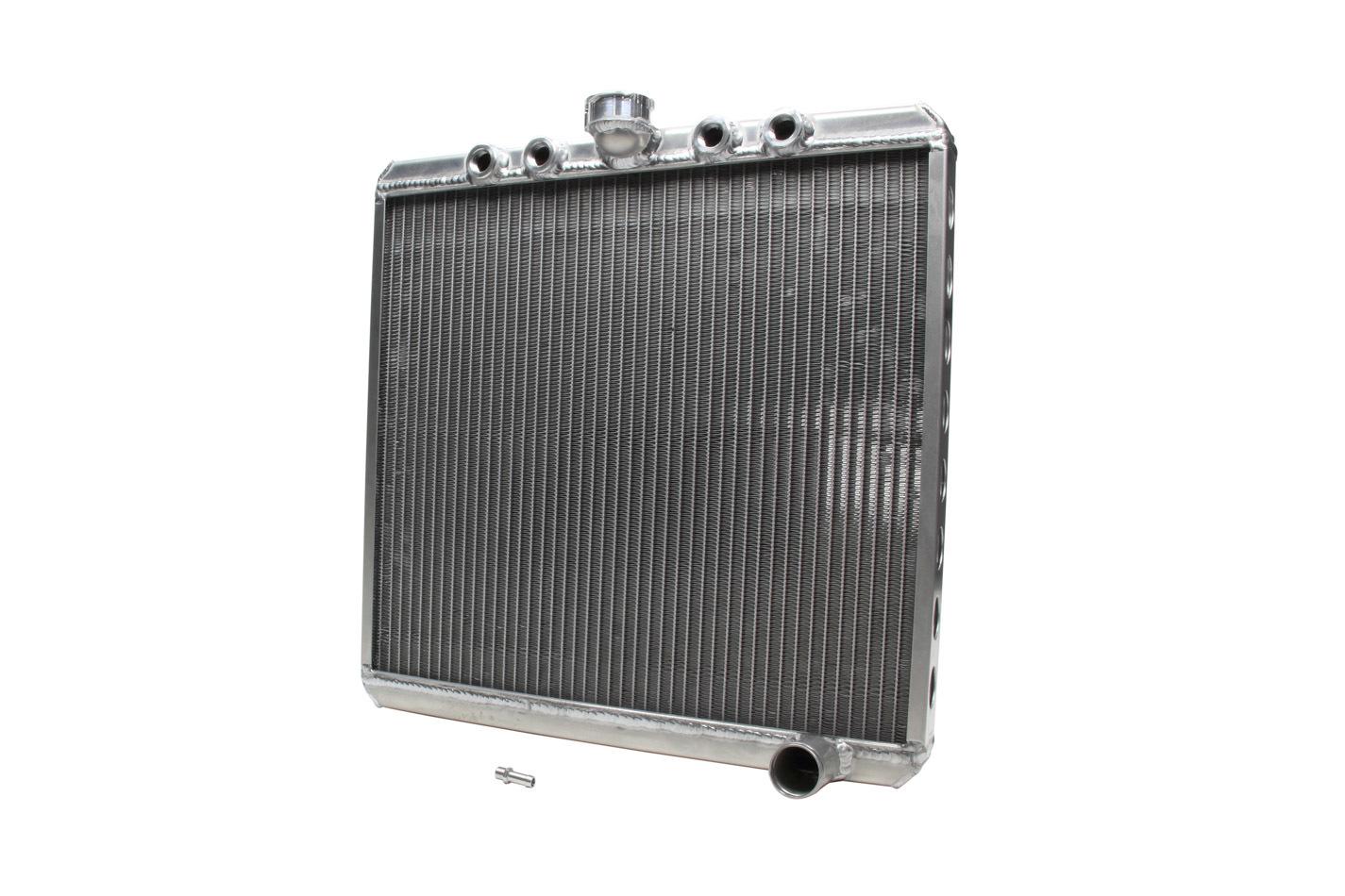 Saldana SRS2020 Radiator, Down Flow, 20 in W x 20 in H, Quad 10 AN Top Inlets, Passenger Side Outlet, Aluminum, Natural, Sprint Car, Kit