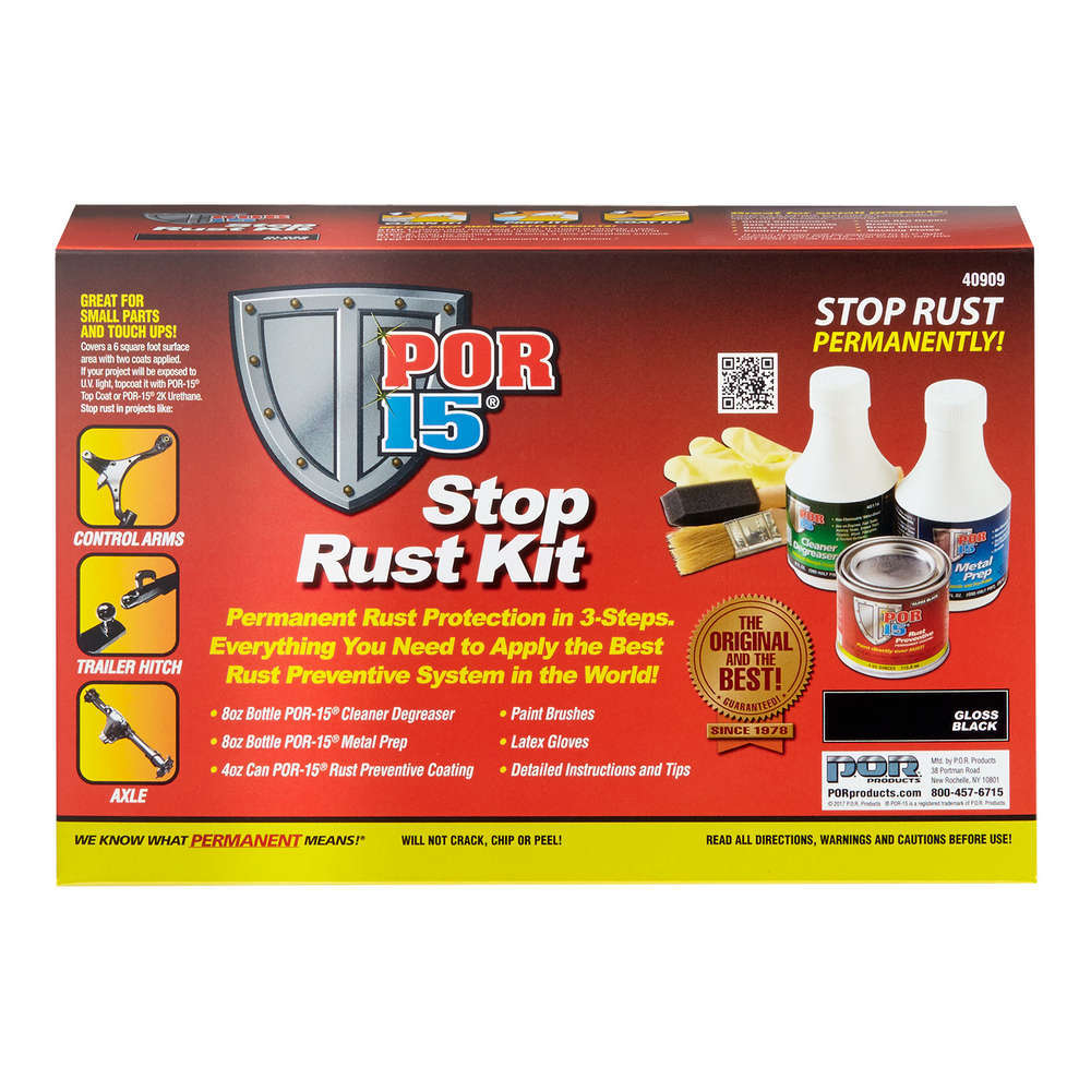 POR-15 40909 Rust Preventative, Stop Rust, Cleaner / Coating / Prep Included, Kit