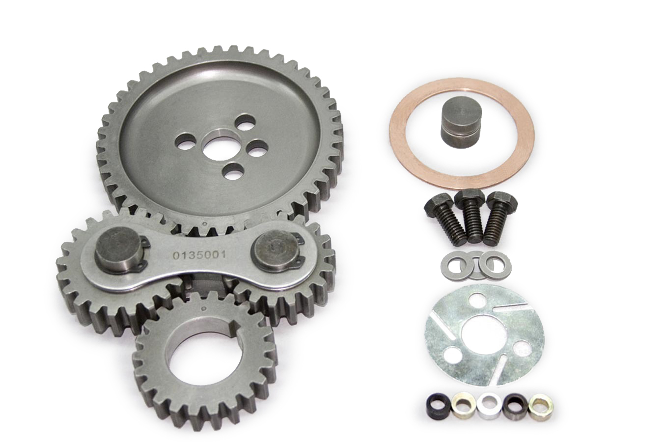 PRW Industries 0135002 Timing Gear Drive, Dual Gear, Dual Idler, Quiet, Steel, Small Block Chevy, Kit