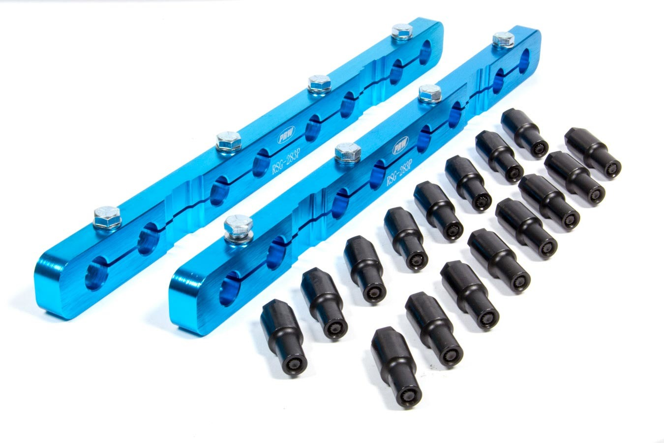PRW Industries 1535002 Rocker Arm Stud Girdle, Solid Bar, 3/8-24 in Thread Studs, Aluminum, Blue Anodized, Small Block Chevy, Kit