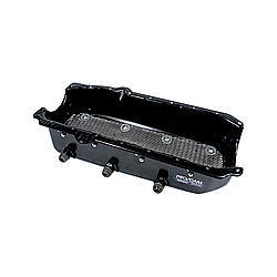 Pro Cam 9132 Engine Oil Pan, Dry Sump, 5-1/2 in Deep, Three 12 AN Male Passenger Side Pickups, Steel, Black Paint, Small Block Chevy, Each
