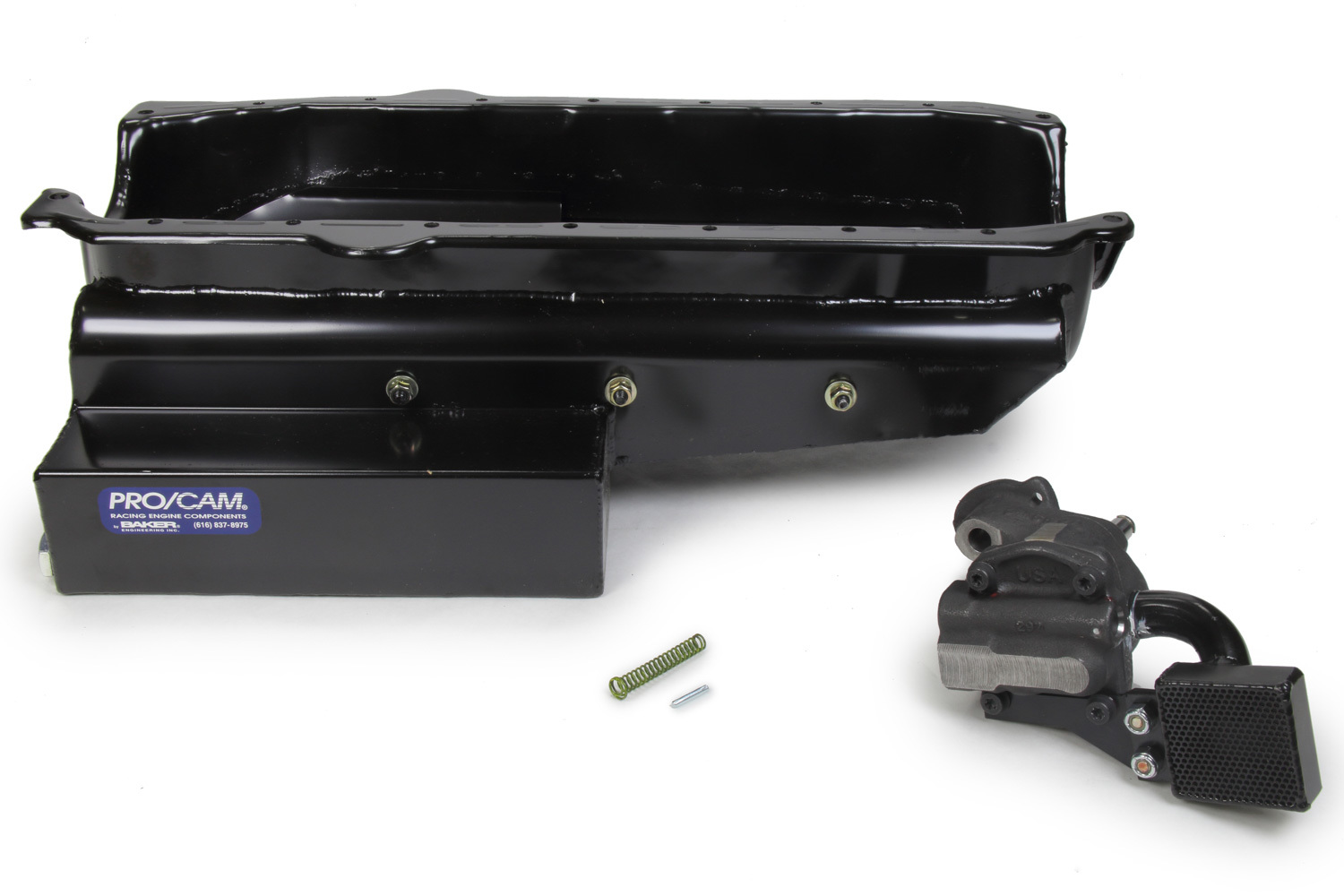 Pro Cam 9137-6N Engine Oil Pan Kit, Oval Track, Rear Sump, 7 qt, 6-1/2 in Deep, High Volume Oil Pump / Pickup Included, Steel, Black Paint, Small Block Chevy, Kit