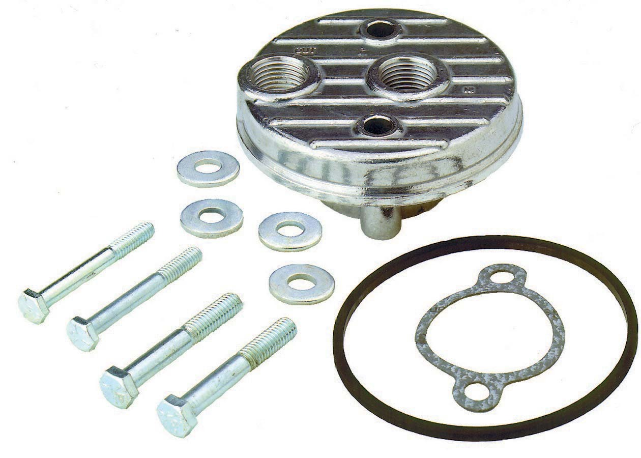 Perma Cool 113 Oil Filter Adapter, Bypass, Block Mount, 1/2 in NPT Female Inlet / Outlet, Hardware / O-Ring Included, Aluminum, Natural, Chevy V8, Each