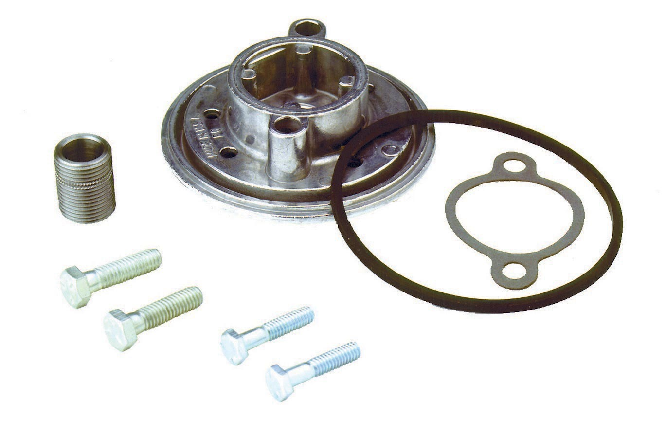 Perma Cool 1134 Oil Filter Adapter, Canister to Spin On Filter, 13/16-16 in Center Thread, 1/4 in Bolts, Aluminum, Natural, Small Block Chevy, Each